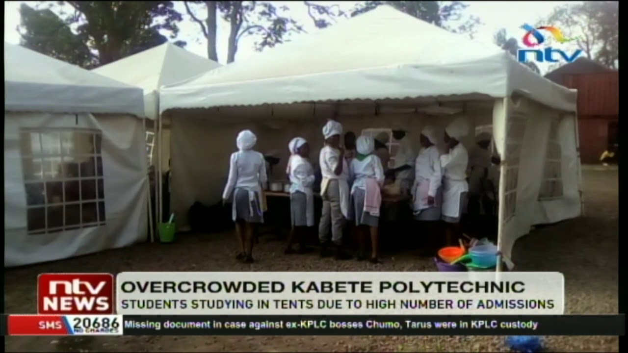 Kabete polytechnic students study in tents due to the high number of  admissions