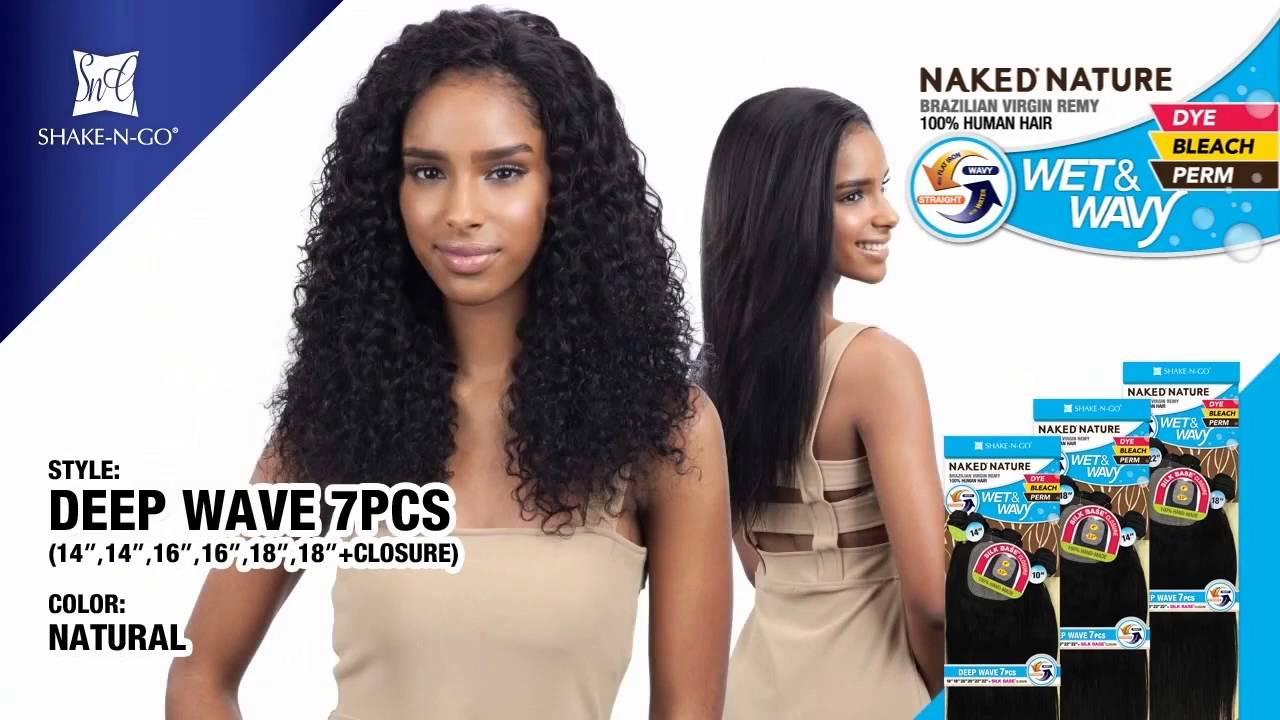 naked nature wet & wavy deep wave 7pcs (14/14/16/16/18/18 + silk