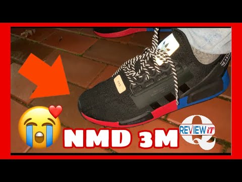 Adidas Nmd R1 V2 Reflective 3m Video Black White Red Blue On Foot Review Youtube