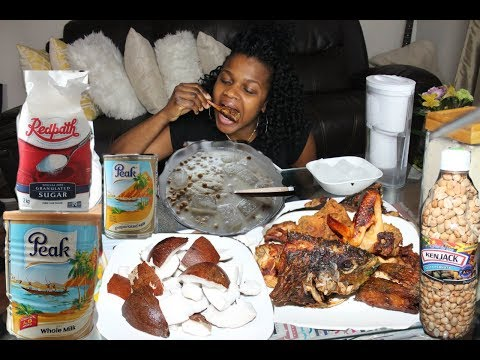 African Food Mukbang #3 - Garri, Chicken, Fish, Coconuts, Peakmilk, Groundnuts & Sugar
