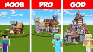Minecraft NOOB vs PRO vs GOD: MEDIEVAL FORTIFIED House Build Challenge in Minecraft / Animation
