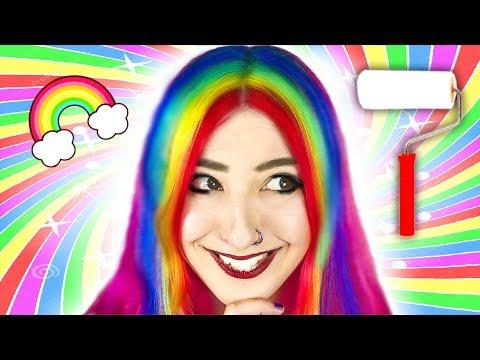 HAIR RAINBOW CON ¿UN RODILLO? ✩ Arco iris escondido en mi pelo -  Ann Look