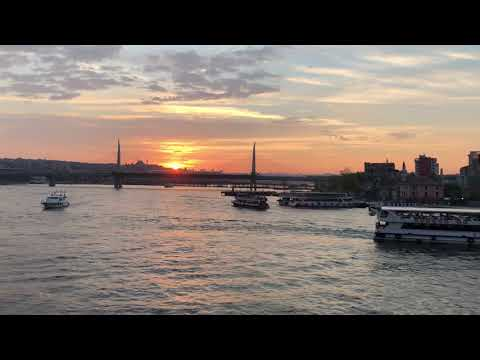 A secret and mysterious sunset at the Galata Bridge in Istanbul, Turkey