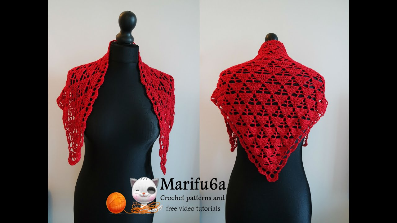 How to crochet red triangle wrap shawl free tutorial pattern by how to crochet red triangle wrap shawl free tutorial pattern by marifu6a youtube bankloansurffo Image collections