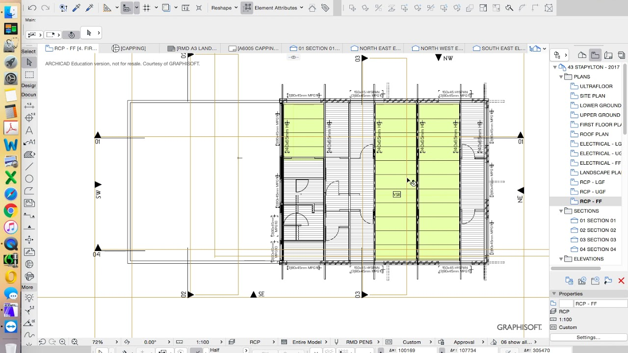 archicad 21 house project part 33 reflected ceiling plan [ 1280 x 720 Pixel ]