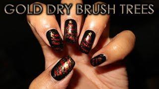 Gold Dry Brush Christmas Trees   12 Days of Christmas Nail Art   DIY Tutorial