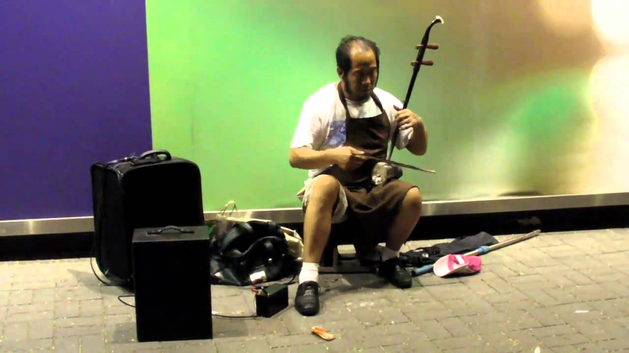"""hong kong. traditional chinese music in the street. the """"ehru"""