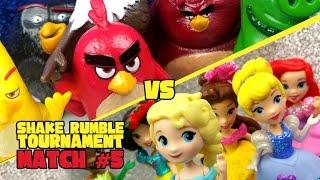 Angry Birds vs Disney Princess Toys Shake Rumble Wrestling Tourney Match #5 | KIDCITY