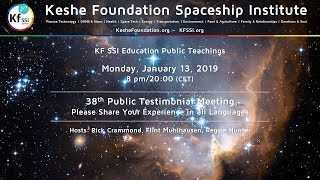 38th Public Testimonials Meeting - Monday, January 13, 2019, 8 pm CET