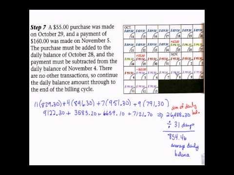 Financial Algebra - Credit Calendar - Average Daily Balance