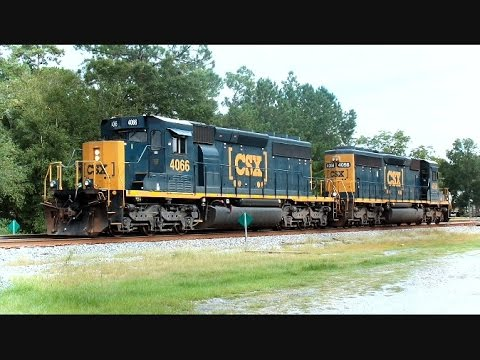 CSX Train Passes CSX Work Train Switching On Siding - YouTube