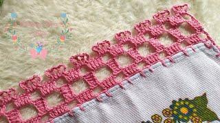 Bico De Crochê No Pano De Prato – Ponto Quadriculado