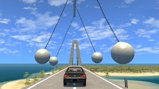 Beamng drive - Pendulum swinging Balls against Cars