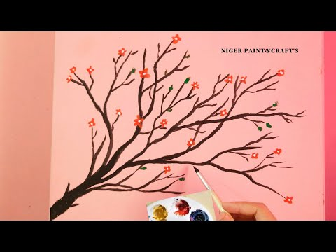 Easy TREE Wall Painting Designs Ideas | wall Art Tree Design by Niger|#Shorts.