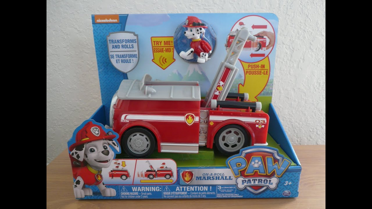 paw patrol marshall on a roll fire truck transformer toy nickelodeon