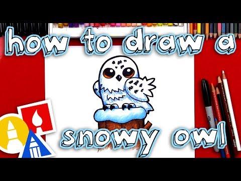 How To Draw A Snowy Owl Cartoon🦉