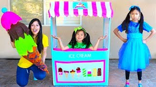 Wendy & Jannie Pretend Play With Giant Ice Cream Cone Cart Store Kids Toy