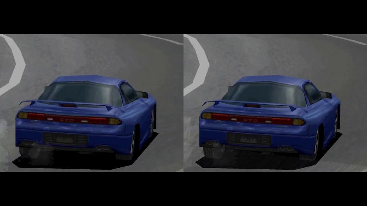 RetroArch - Gran Turismo (PSX USA) PGXP `OFF | ON` comparison