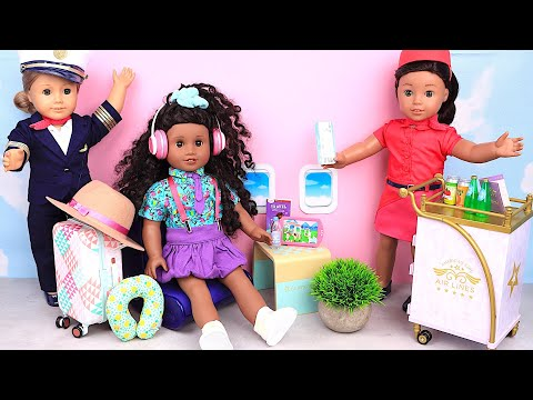 Baby Doll travel routine on air plane! Learn about pilot profession! Play Toys