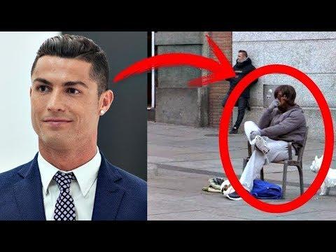 شاهد ما حدث عندما تنكر كريستيانو رونالدو في أحد شوارع برشلونة !!