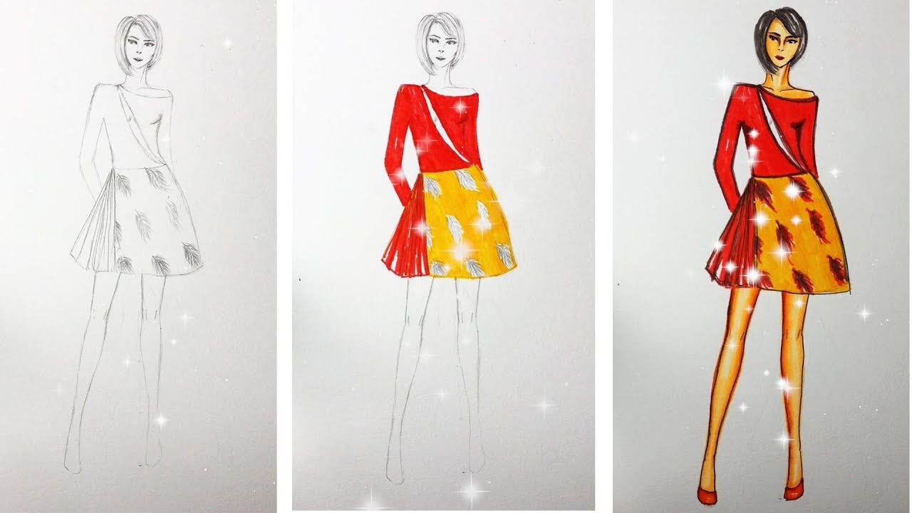 How To Draw Evening Dress Fashion Design Model Dress 16 Youtube