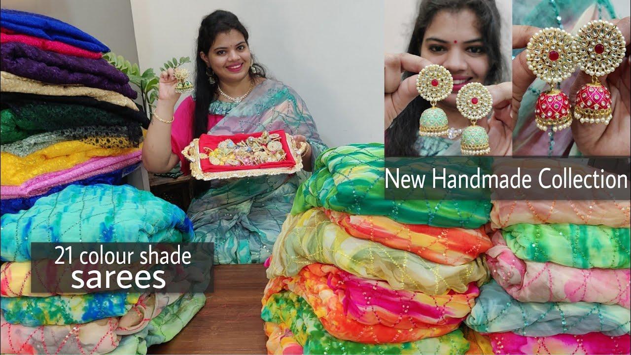 21 colour shade sarees || new hand made collection #meenakarijewellery