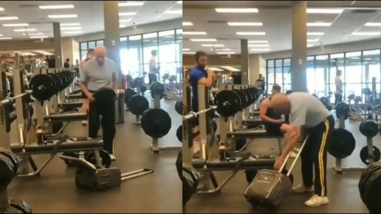 Grandpa Steals Weights From The Gym