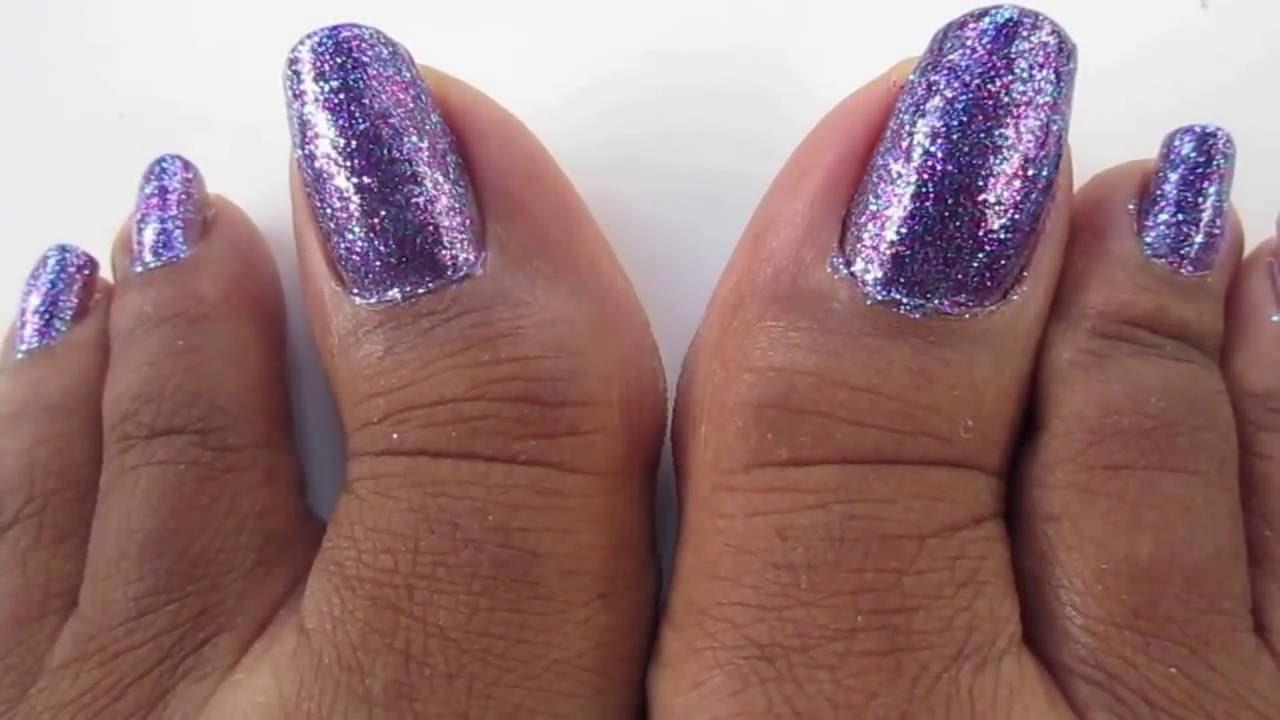 Purple Glitter Toe Nails Youtube