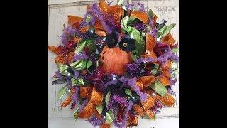 "Video tutorial for Halloween Ribbon Wreath using 10"" Pencil Wreath,..."