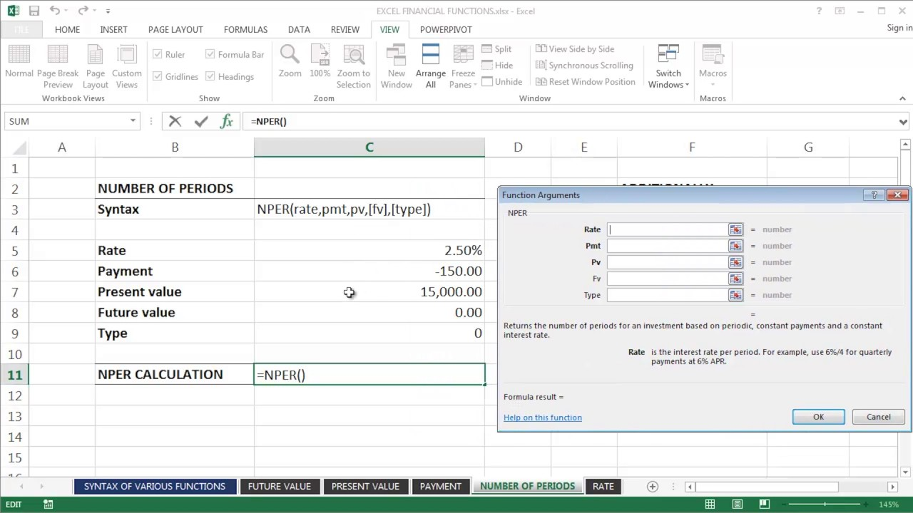 excel how to find the number of periods
