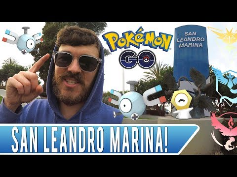DESTINATION POKEMON GO! San Leandro Marina Magnemite Nest + 100% IV Pokemon + Secret League Pins!