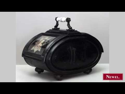 Antique English Victorian iron 2 sided coal scuttle with