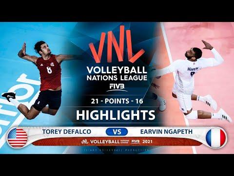 Usa vs France | VNL 2021 | Highlights | Torey Defalco vs Earvin Ngapeth