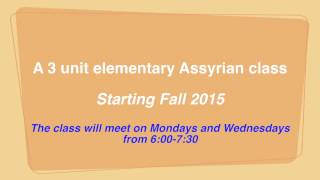 Assyrian Course at San Jose State University