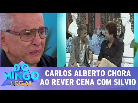 """Domingo Legal (05/03/17) - Carlos Alberto chora ao rever cena de Silvio Santos na """"Praça"""""""