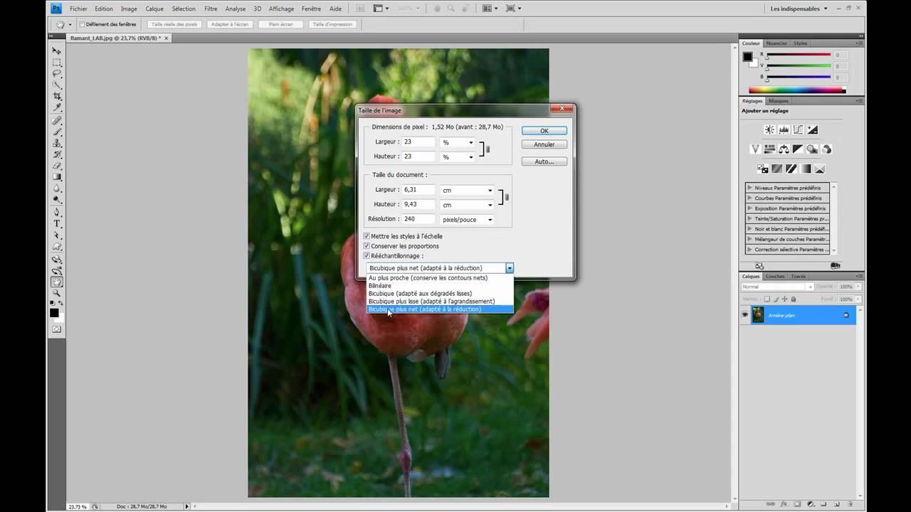 modifier la taille dune image photoshop