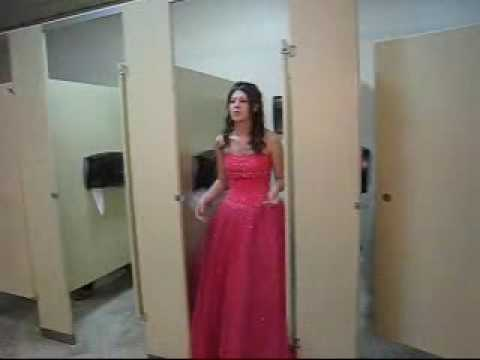 How To Fit A Ball Gown Into A Bathroom Stall Youtube