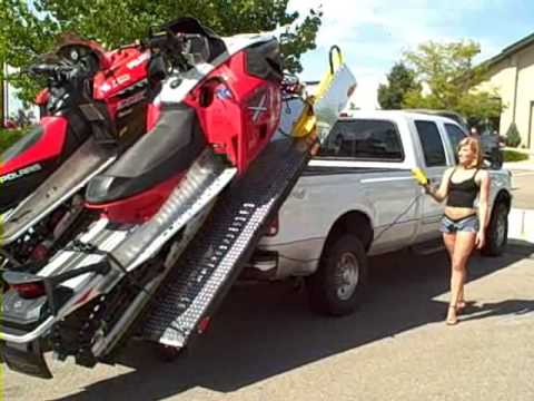 Ski Rack For Car >> Load and Unload 2 Snowmobiles Into The Back of Your Truck - The Easy Way! - Elevation Trailers ...