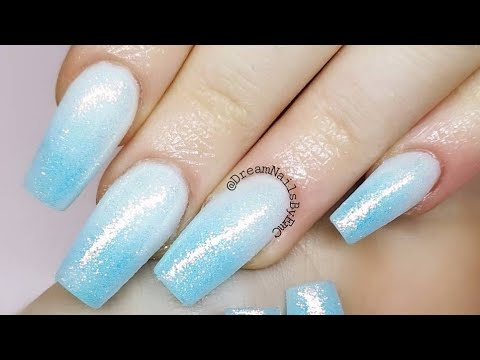 Baby Blue And White Ombre Nails Acrylic Nails Watch Me Work Youtube