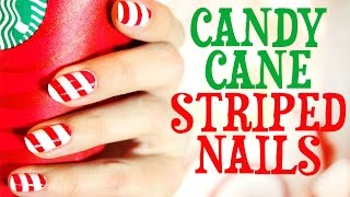 Candy Cane Striped Nails Tutorial Thumbnail