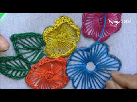 Hand Embroidery Work Designs 100 Ruffle Button Hole Stitch Flower
