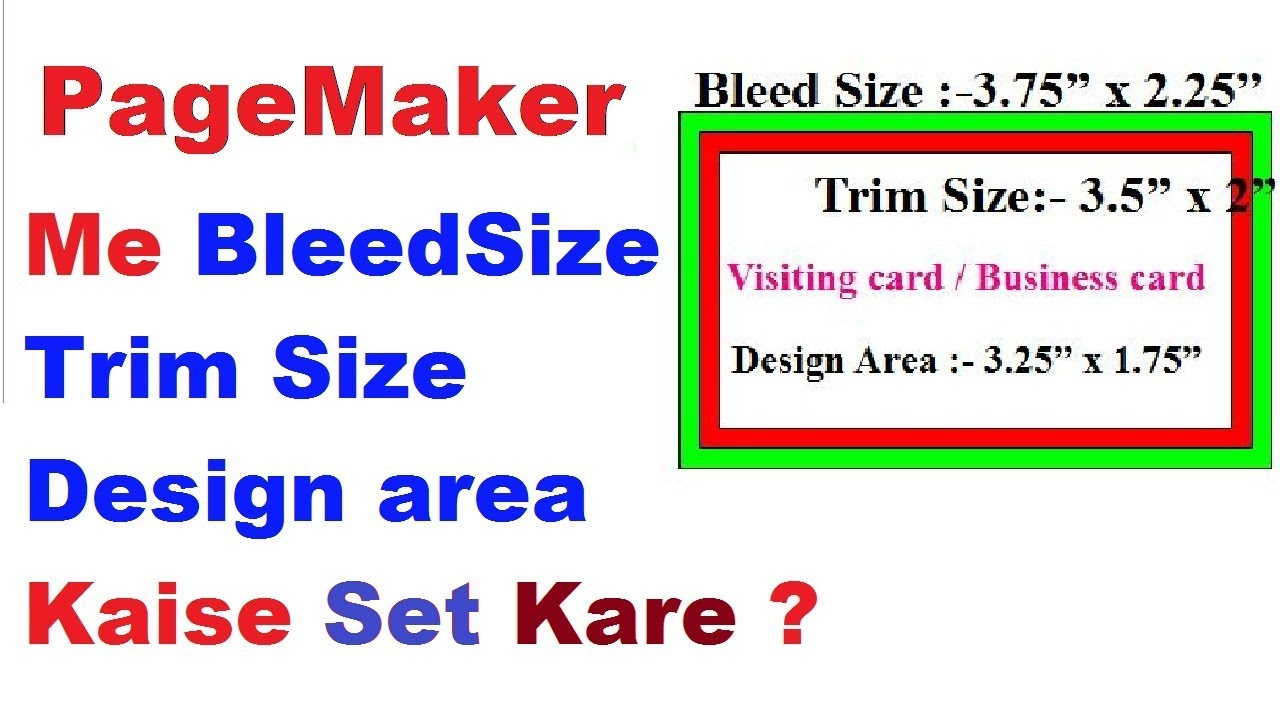 How To Set Bleed Size Trim Size Design Area In Pagemaker For