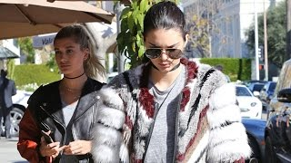 EXCLUSIVE - Kendall Jenner And Hailey Baldwin Keep Their Love Lives Secret At Lunch