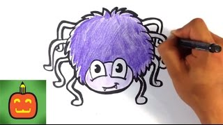 How to Draw a Halloween Spider - Halloween Drawings