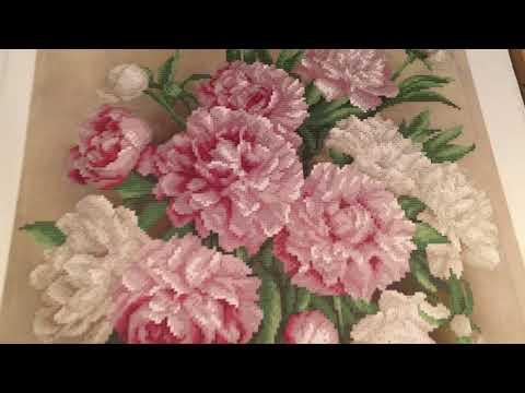 Вышивка бисером пионы в вазе