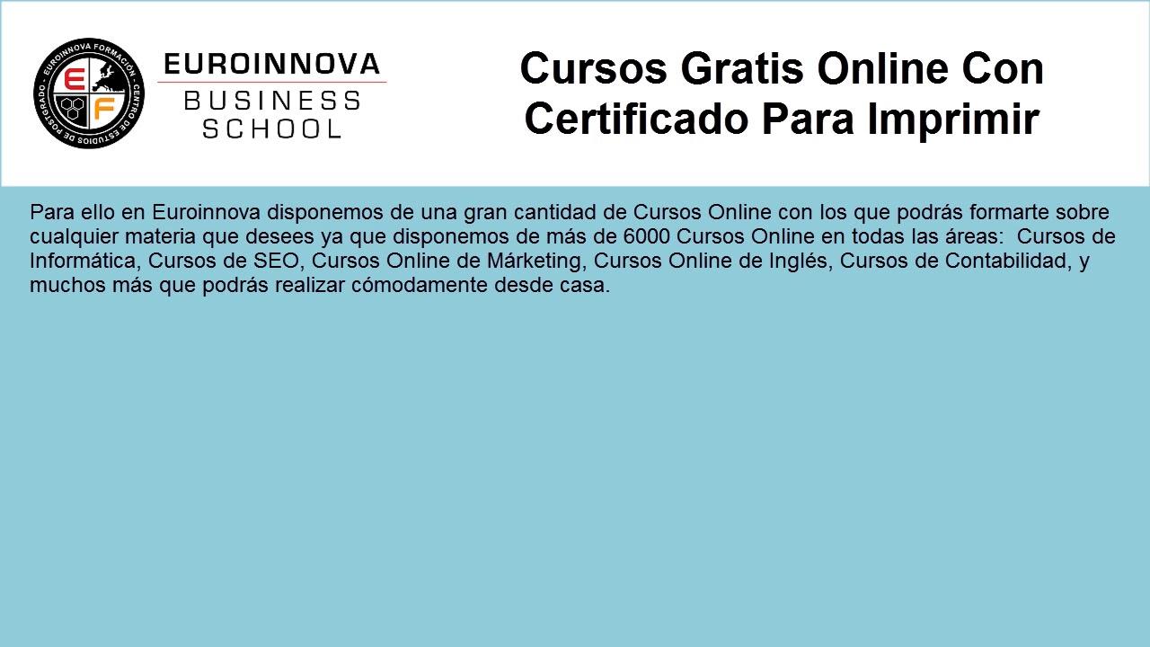 Certificado Para Imprimir Web Oficial Euroinnova