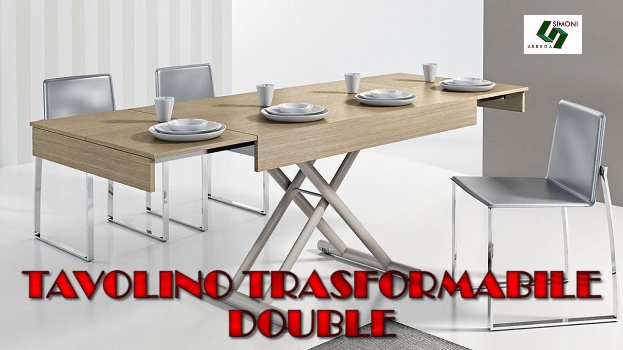 Tavolino Trasformabile in tavolo DOUBLE da 8 posti - YouTube