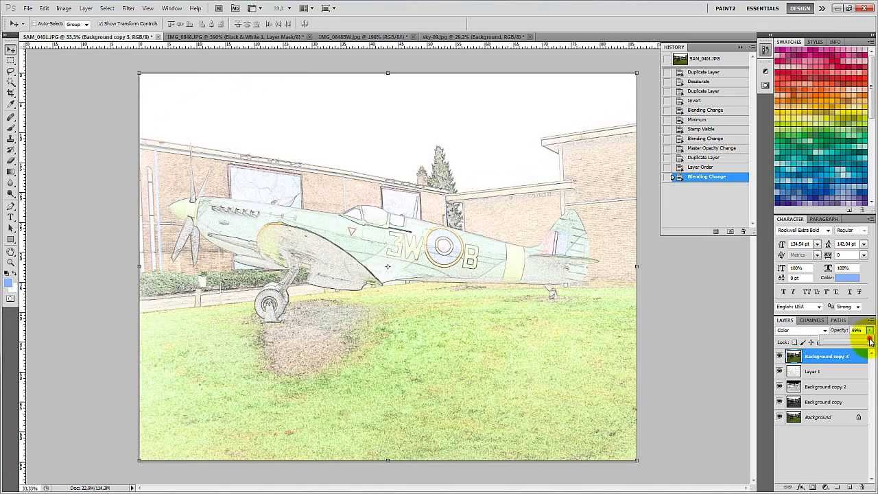 How to convert a color photo to a sketch image with for Convert photo to coloring page photoshop