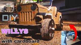 Diy miniature willys jeep with cardboard boxes