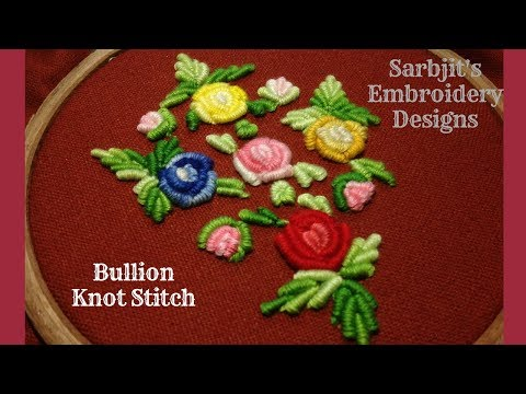 Making Rose Flower with Bullion Knot Stitch | Hand Embroidery Designs